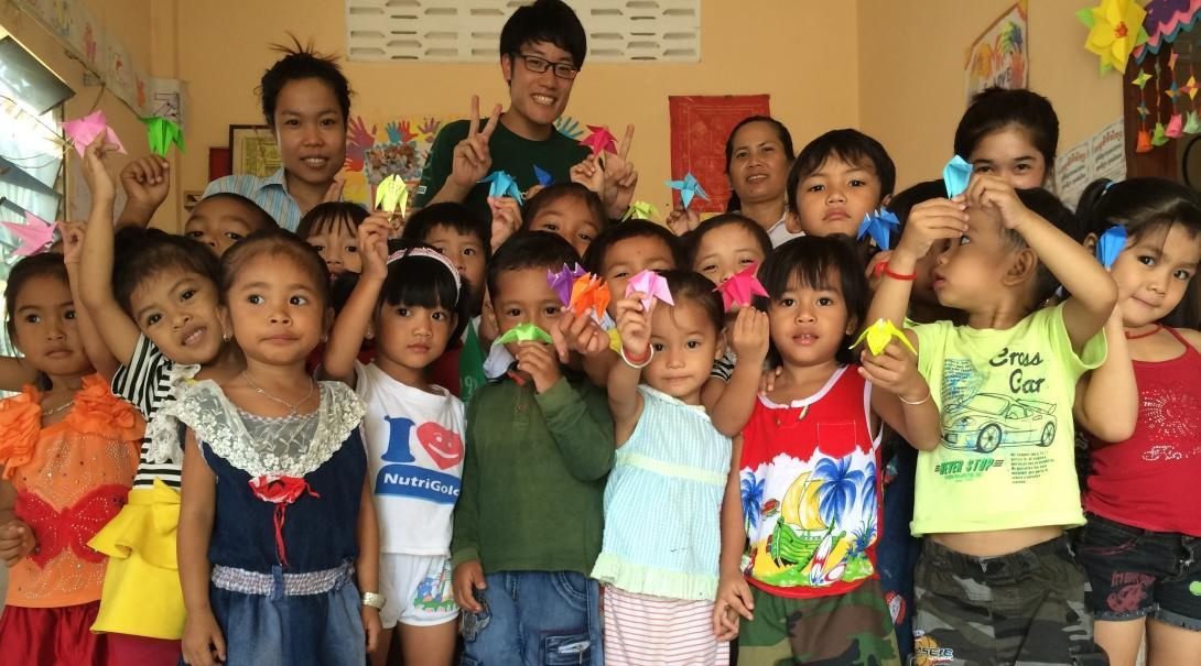 Part of the Experiential Learning model in Cambodia for middle school students, is for students to help in kindergartens.